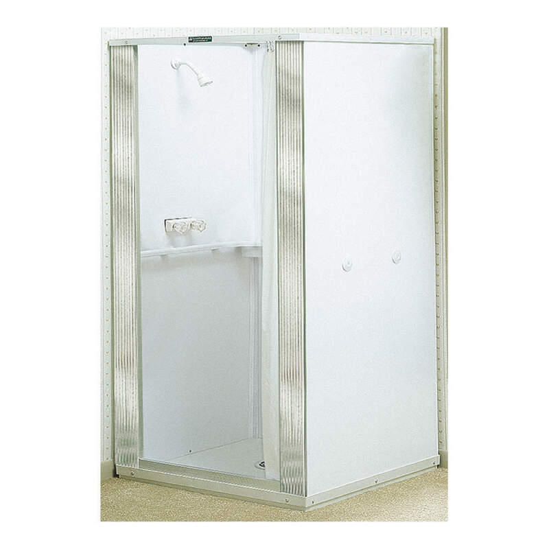 MUSTEE 80 Shower Stall,Thermoplastic,Center Drain