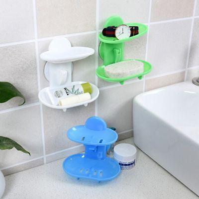 Sucker Creative Soap Box Double Layers Soap Dish Sucker Holder Container