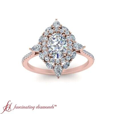 2 Ctw Oval Shaped Diamond Delicate Shank Art Deco Halo Rose Gold Engagement Ring 1