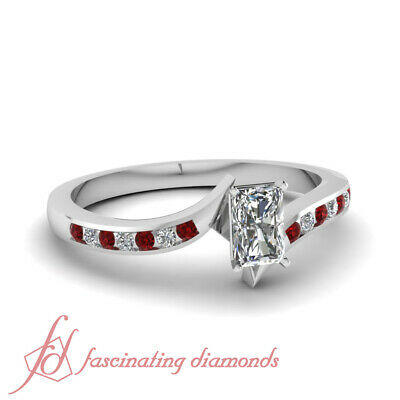 Channel Set 1/2 Ct Radiant Cut Diamond & Round Ruby Engagement Ring 14K VS1 GIA