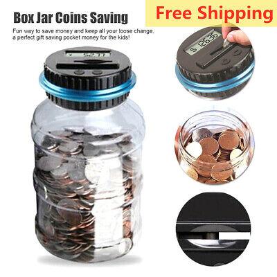 Electronic Digital LCD Coin Counter Counting Jar Money Saving Piggy Bank Box NEW
