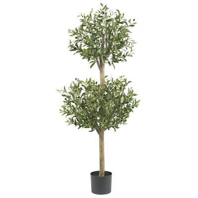 4.5 ft. green olive double topiary silk tree | artificial nearly natural plant Olive Tree Topiary