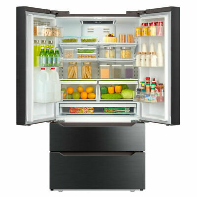 Kitchen Automatic Ice-maker 36 Inch Refrigerator with Counter French Door Black