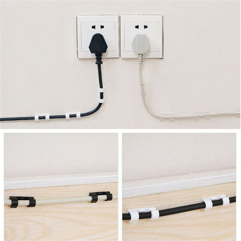20PCS Self Adhesive Wire Cable Cord Clips Clamp Table Wall Tidy Organizer Holder