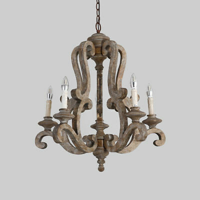 Cottage 5-Light Candelabra Chandelier E12 Brown Distressed Wood Pendant Lamp