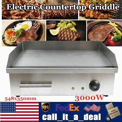 3000w Electric Countertop Griddle Flat Top Commercial Restaurant Grill Bbq Grill