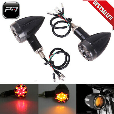 Motorcycle LED Turn Signal Blinker Indicator Lights Black Bullet For Harley Dyna