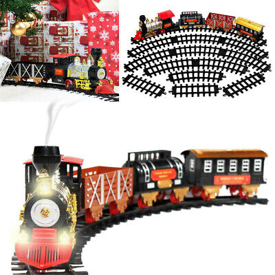 Electric Operated Classic Christmas Train Set With Light Smoke Sound Xmas Gift