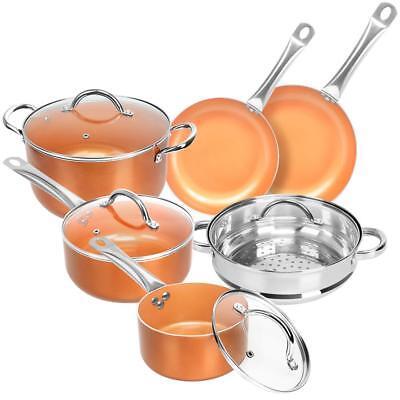 Copper 10 Piece Non Stick Cookware Set - Pots, Pans, Steamers, Skillets