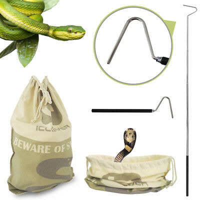 Large Snake Drawstring Bag Reptile Catching+Retractable Snake Hook Handle Tongs