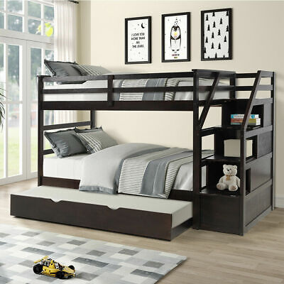 Kids Twin-Over-Twin Trundle Bunk Bed with 3 Storage Drawers Pullout (Double Over Double Bunk Bed With Trundle)
