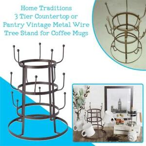 NEW Home Traditions 3 Tier Countertop or Pantry Vintage Metal Wire Tree Stand for Coffee Mugs, Glasses, and Cups, 15 ...