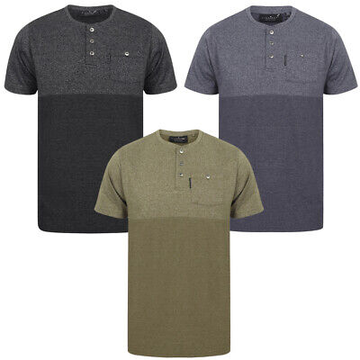 Grandad Neck T-shirt - Dissident Mens Koku Henley Neck T-Shirt Collarless Polo Shirt Grandad Collar Top