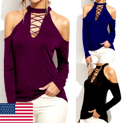 Women's Cold Shoulder Blouse Shirt Casual Long Sleeve Halter Neck T-Shirts Tops (Halter Neck)