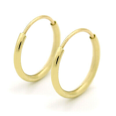 14K Yellow Gold Endless Hoop Earrings 10mm - 20mm and 3-Pair Sets Women Men