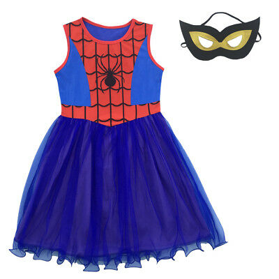 Girls Spider-Girl Dress Kids Blue & Red Spider-man Costume Party + Mask L8