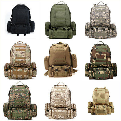 55L 3D Molle Military Tactical Backpack Rucksack Trekking Bag Outdoor Camping