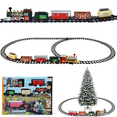 Ornate Electric Christmas Train Tracks Set Lights Sound Kids Toy Gift Tree Decor