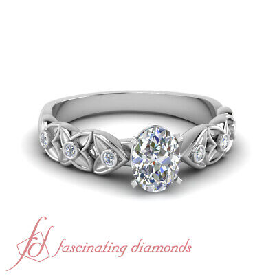 Bezel Set Oval Shaped Diamond Rings In White Gold With Round Accents GIA 0.65 Ct