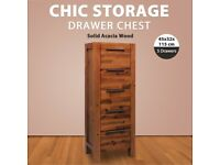 Chest of Drawers Solid Acacia Wood 45x32x115 cm-245190
