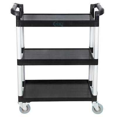32 X 16 X 38 Black 3 Shelf Utility Bus Cart Heavy Duty Restaurant Catering
