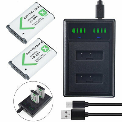 2X NP-BX1 Battery+ USB Charger For Sony HX90/BC DSC-WX500 RX100 IV DSC-RX100M4