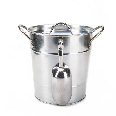 T586 Primary Color 4L Metal Galvanized Double Walled Ice Bucket With Lid - Colored Metal Buckets