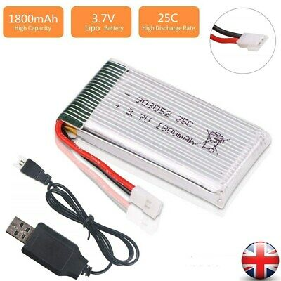 3.7V 1800mah Lipo Battery 25C XH2.54 Plug w/ USB Charger For RC Drone Quadcopter