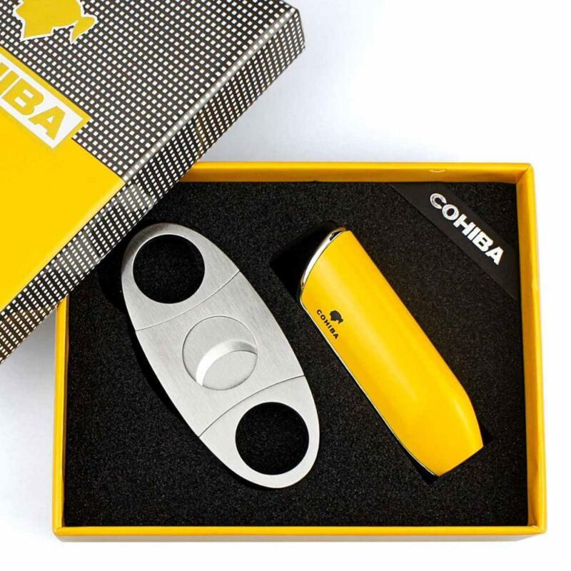 COHIBA Cigar Lighter Cutter Windproof Torch Jet Flame Lighter Accessories set