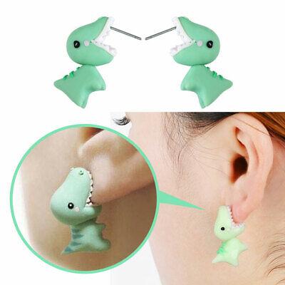 - Cute Green Dinosaur Animal Piercing Earrings Soft Ear Stud Kawaii Jewellry Gifts