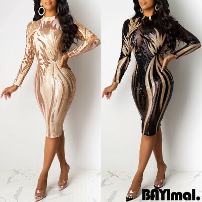Womens Sequins Bodycon Midi Dress Ladies Sexy Mesh Sheer Evening Party Prom Gown