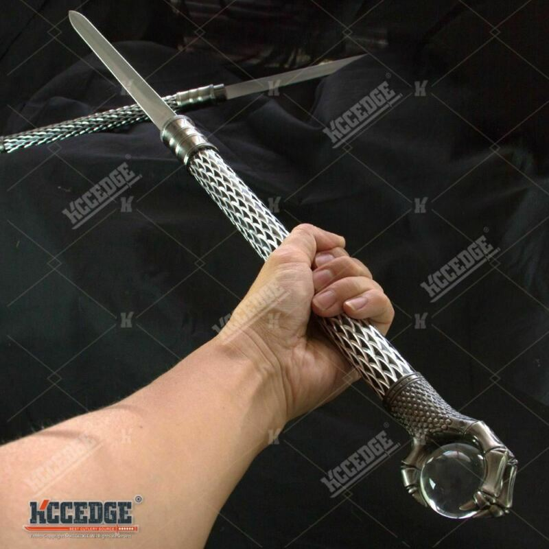 "29.75"" Double Steel Blade Fantasy Dragon Dagger w/ Claw Holding A Crystal Ball"