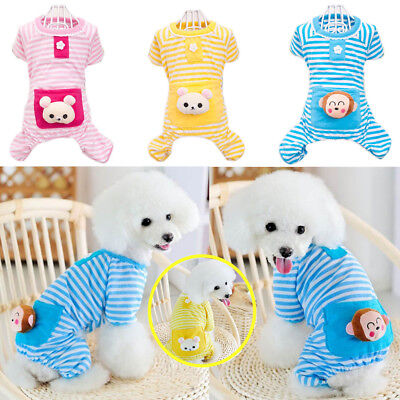 Cute Clothes For Puppies (Stripe Jumpsuit Pajamas Pet Bear Clothes Dog Puppy Costume Coat Cute For)