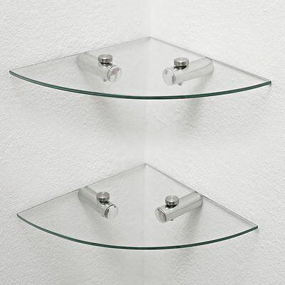 2 x Glass Corner Shelves, Bathroom Shelves, Kitchen shelves, Storage