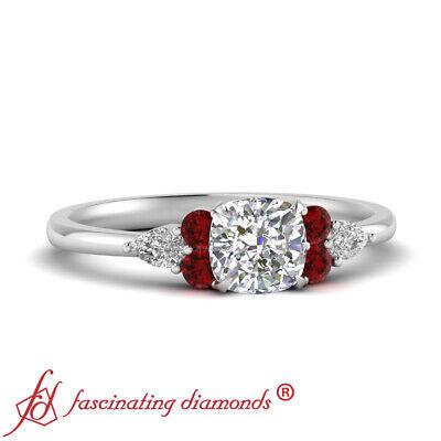 3/4 Carat Cushion Cut Diamond & Ruby Gemstone Delicate Engagement Ring For Women