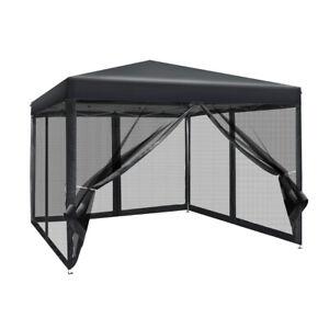 Instahut 3x3m Pop Up Gazebo Wedding Marquee Mesh Side Walls Outdoor Canopy Black