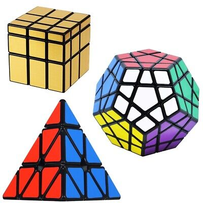 3 Pack Rubiks Cube Puzzle Speed Cube Set 3x3 Pyramid Megaminx Mirror Cube Gift