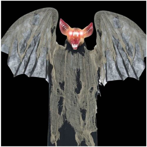 Halloween LARGE 4ft Animated Vampire Bat Flapping Wings Light Up Decoration Prop