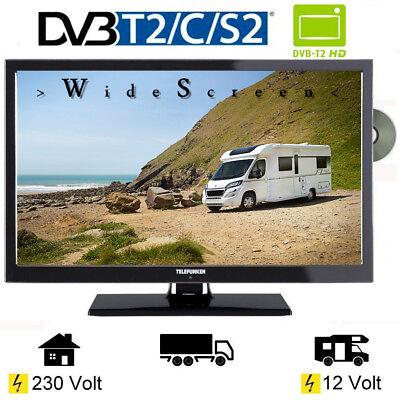 Telefunken 20 Zoll LED TV Triple-Tuner L20H270DVD USB 12V 230V Wohnmobil Camping