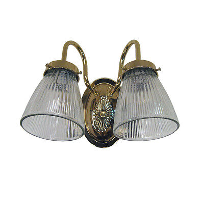 Polished Brass and Clear Ribbed Glass 2 Light 10