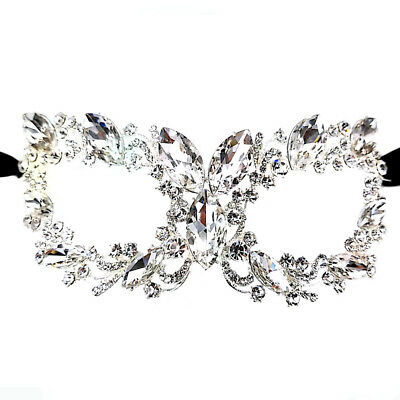 Women's Clear Oval Crystal Glass Rhinestone Royal Venetian Masquerade Eye Mask (Oval Mask)