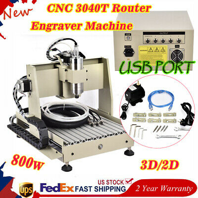 Cnc 3040t Router Engraver Machine Usb Vfd 3d Mill Spindle Desktop Carve 800w Us