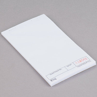 NEW  1 Part White Blank Guest Check - 100/Case 105GCKDUP1CL
