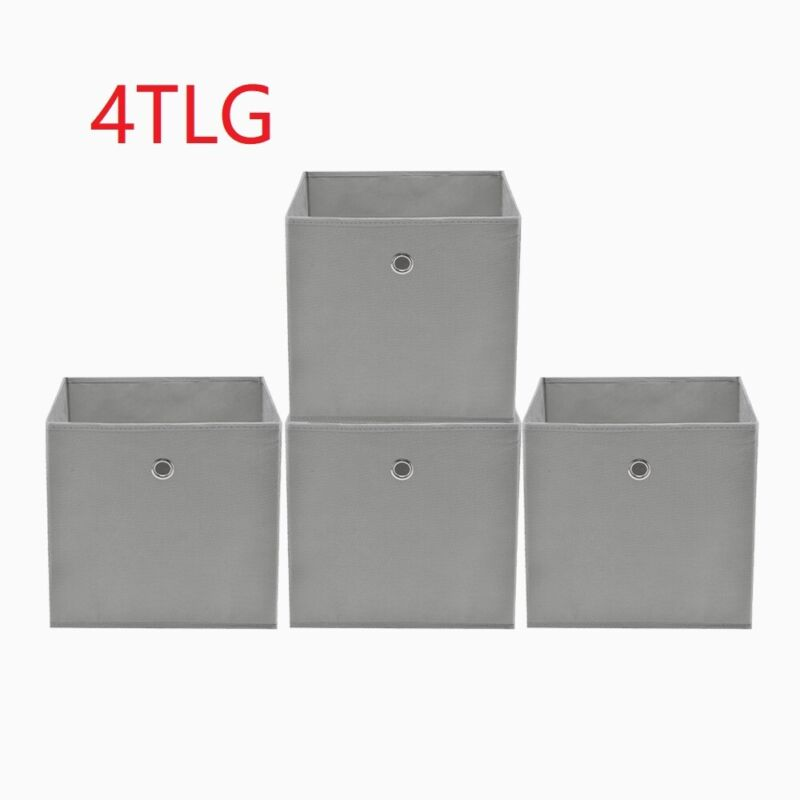 4er Set Faltbox in lichtgrau 32 x32 cm Faltkiste Regalkorb Regalbox Kinderbox DE