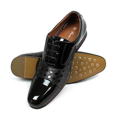 - New Men's Black Cap Toe Patent Shiny Tuxedo Shoes Lace Up Oxfords 19507-100 NEW