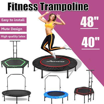 """40/48"""" Mini Trampoline Fitness Rebounder Adjustable Bar Indoor Workout Training"""
