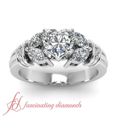 1.50 Carat Diamond Rings With Center Natural Heart Shaped In 14K White Gold GIA 1
