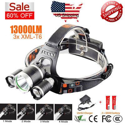 13000Lm 3 Cree Xm L T6 Led Headlamp Ac Chargerable 18650 Flashlight 3 Head Torch