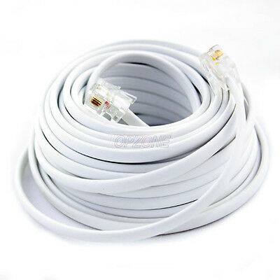 New 100Ft 100' Feet White Phone Line Cord DSL Cable 4 Wires Inside