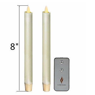 (8'' Luminara Flameless LED Taper Candles w/Timer with Remote Set of 2 Ivory)